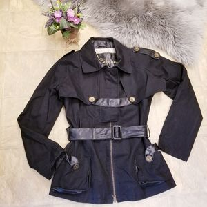 Mackage 2-in-1 Leather Trim Trench Coat/Vest